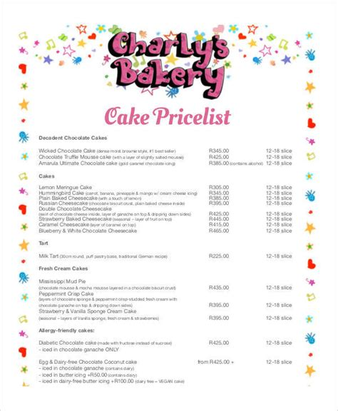 cake price list template 44 price list sles templates pdf doc