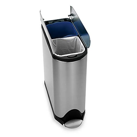 bed bath and beyond simplehuman trash can simplehuman 174 brushed stainless steel fingerprint proof 40