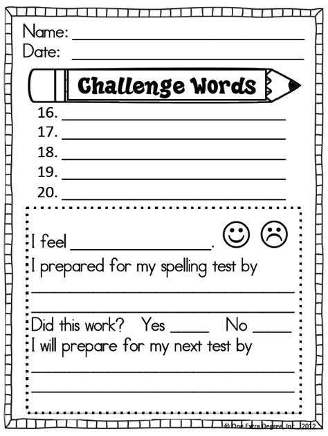 free printable spelling test template free spelling test template one degree