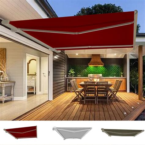 Patio Awning Lights by Garden Awning Retractable Canopy Electric Patio Shelter