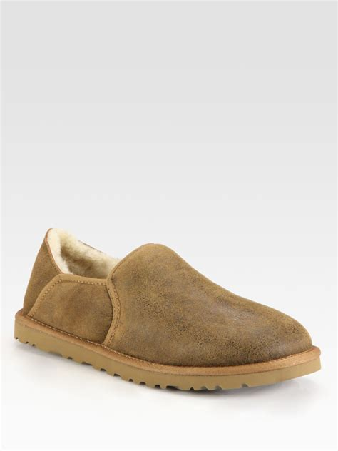 ugg chestnut slippers ugg kenton suede slippers in brown for chestnut lyst