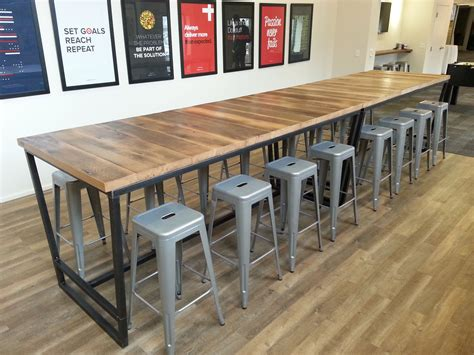 Industrial Boardroom Table Custom Made Reclaimed Wood And Steel Industrial High Top Conference Table Conference Room