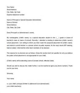 Official Letter Format For School 8 School Letter Of Intent Templates Free Sle