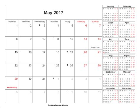 Calendars With Holidays May 2017 Calendar Printable With Holidays Pdf And Jpg