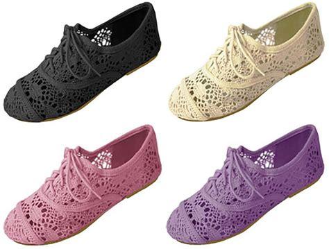 crochet oxford shoes womens crochet oxfords flat shoes lace up 4 colors ebay
