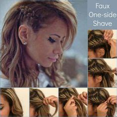 one side shaved hairdo tutorials how to fake a faux side shave braid on pinterest shaved