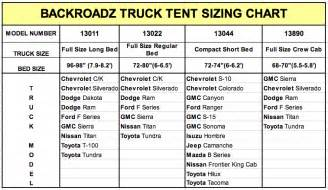 truck bed sizes backroadz truck tent size chart