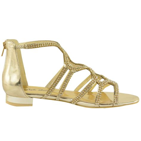 Sandal Gladiator Pria 4 womens flat diamante strappy gladiator summer cut out sandals shoes size ebay