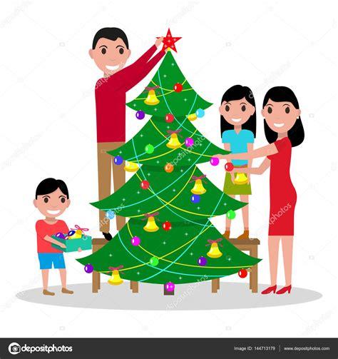 imagenes de la familia unida en navidad familia feliz vector decora el 225 rbol de navidad archivo