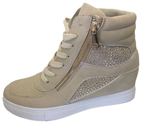 womens diamante wedge heel ankle high top trainers