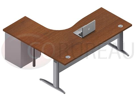 bureau en l bureau compact 180 cm pro m 233 tal avec caisson m 233 tallique