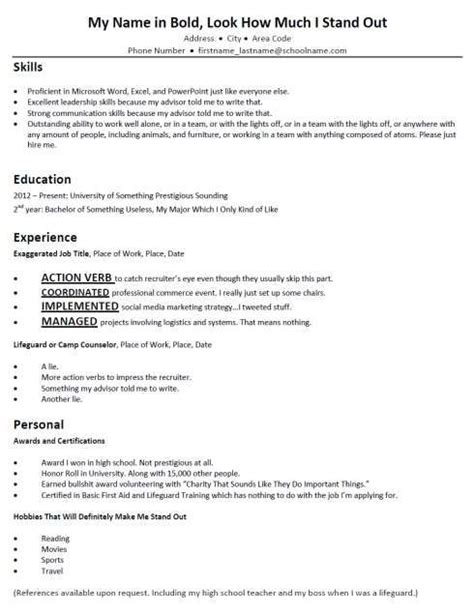 Mock Resume by Terribly Typical Mock Resumes