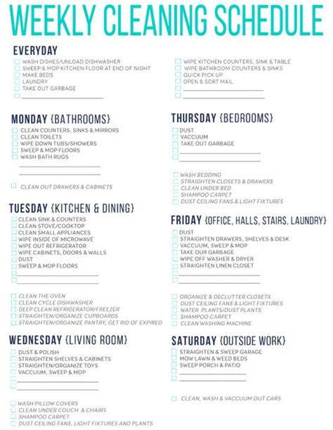 best 25 weekly cleaning schedules ideas on pinterest