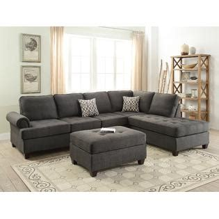 Black Fabric Sofa Living Room Furniture esofastore living room furniture ash black dorris fabric 2pc sectional sofa set reversible