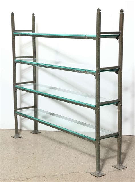 Etagere 9 Cases Fly by Narrow Brass And Beveled Glass Four Shelf 201 Tag 232 Re Circa