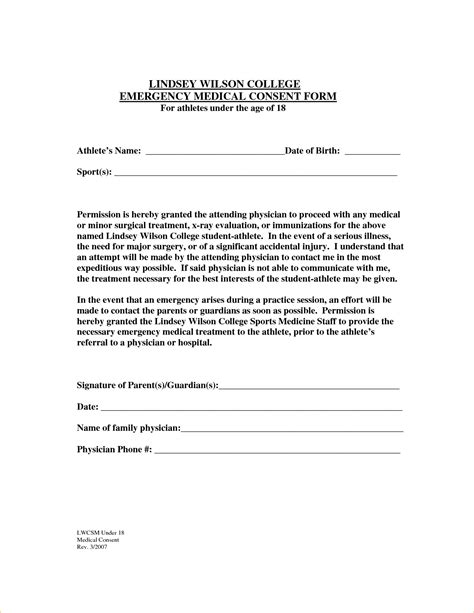 authorization letter for minor child generic consent form for minor permission