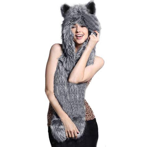 Fashion 3in 1 2017 winter fashion 3 in 1 faux animal fur hat