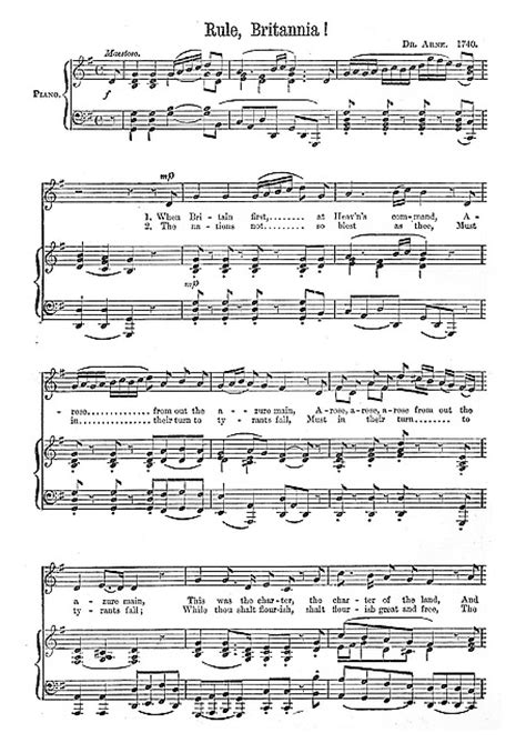 Rule, Britannia! Piano, Voice - Sheet music - Cantorion