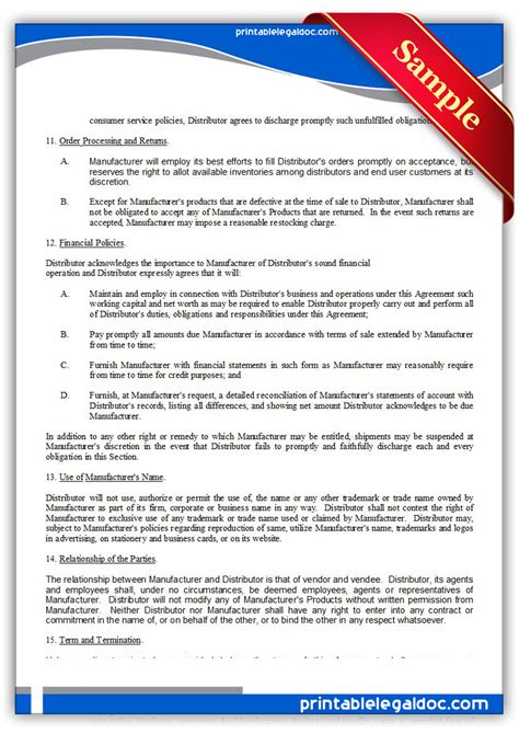 Free Printable Distributor Agreement Exclusive Form Generic Distributor Agreement Template 2