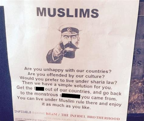 Kaos Go Muslim Islam Will Rule The World wetherspoons customer disgusted by offensive anti muslim poster in pub