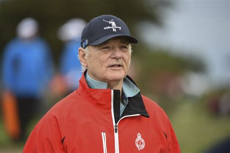 pro am bill murray plants huge kiss right on the camera lens at