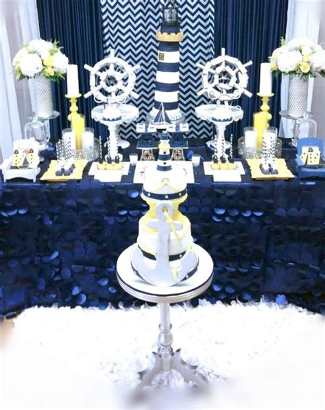 Sailor Themed Baby Shower Centerpieces by Blue And White Nautical Baby Shower Baby Shower Ideas