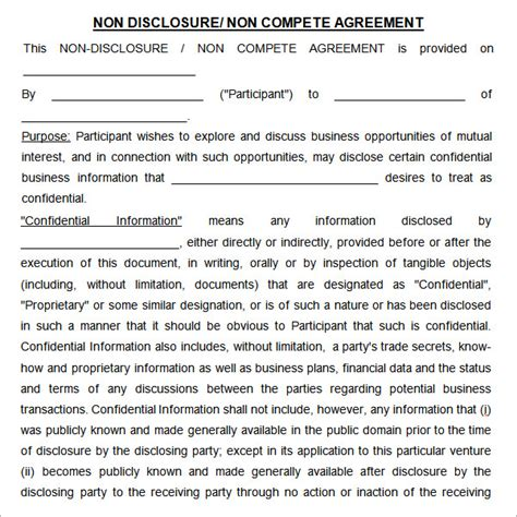 7 Sle Non Compete Agreement Templates To Download Sle Templates Non Disclosure Agreement Template Free Pdf
