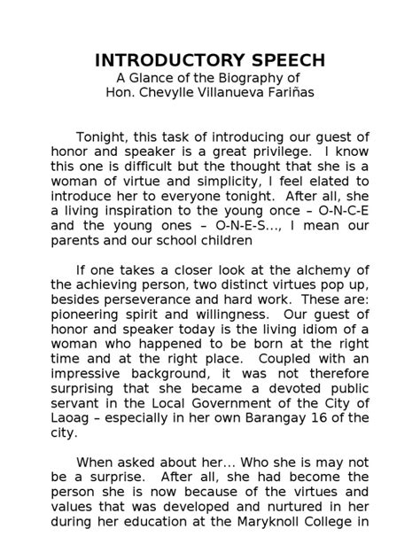Sles Of Introduction Speech For A Guest Speaker sle speech in introducing a guest speaker