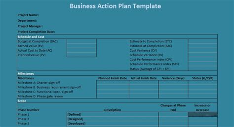 Business Action Plan Template Excel Projectemplates Business Plan Template Exles