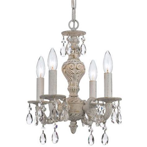 Antique White Mini Chandelier Crystorama Lighting Hton Antique White Ornate Mini Chandelier Draped With Clear
