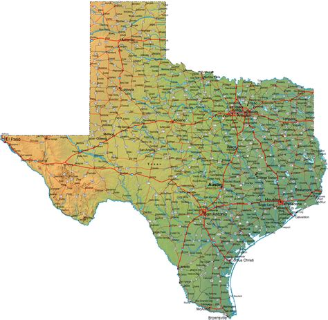 image of texas map detailed texas map tx terrain map