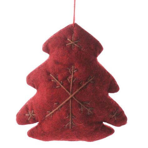 primitive red felt christmas tree ornament christmas and