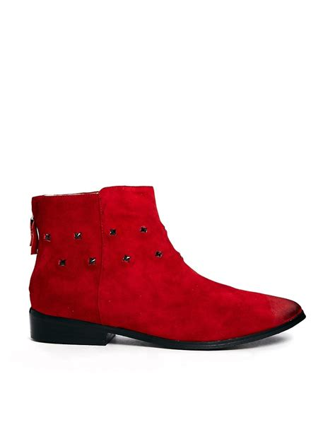 messeca messeca tito studded flat boots at asos