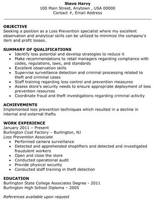 Loss Prevention Associate Sle Resume loss prevention specialist resume the resume template site