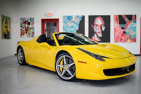 ferrari yellow car ferrari 458 spider yellow miami exotics exotic car rentals