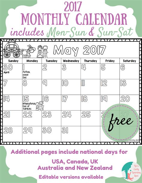 printable calendar classroom free 2017 monthly calendar for kids liz s early learning