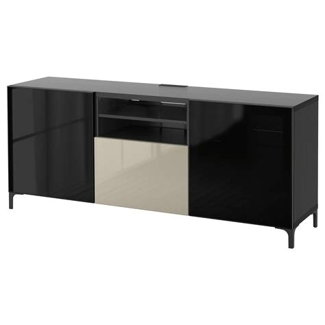 glass tv bench best 197 tv bench with drawers black brown selsviken high
