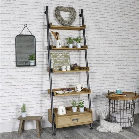 drawer display shelf unit industrial ladder style 5 shelf display unit with 1 drawer