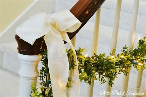 garland on banister christmas home tour vanessa s house at the picket fence