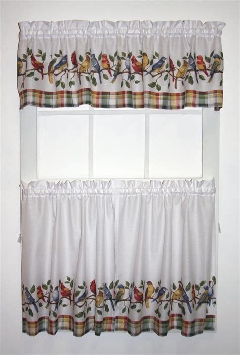 valance and tier curtain sets songbirds print tailored tiers valance window curtains