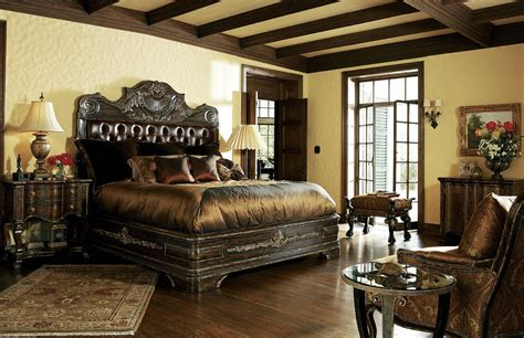 poster bedroom furniture set with leather headboard 1 high end master bedroom set carvings and tufted leather