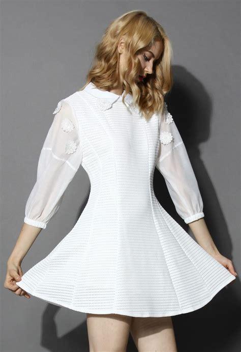 Dominiq Dress White Zv dress chicwish white dress sheer sleeves wheretoget