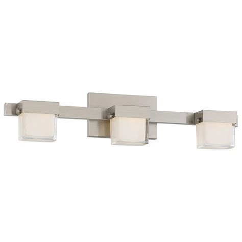 Led Lights For Bathroom Vanity Lumens By Avenue 3 Light Brushed Nickel Led Bath Vanity Light 23813 The Home Depot