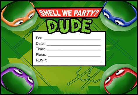 mutant turtles birthday card template 447 best coolest invitation templates images on
