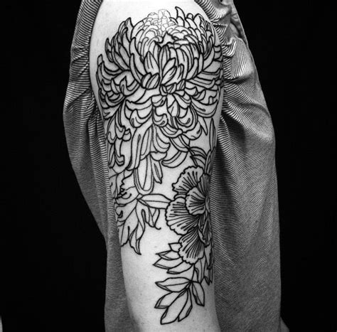 sacred heart tattoo atlanta peony chrysanthemum done by emily effler at
