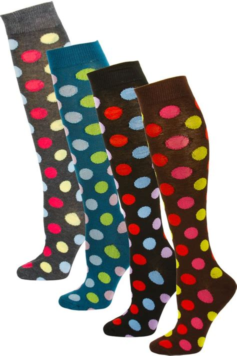 Mamia Brown mamia s polka dot knee socks