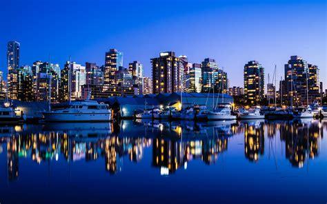mobile city canada vancouver canada city lights buildings sea