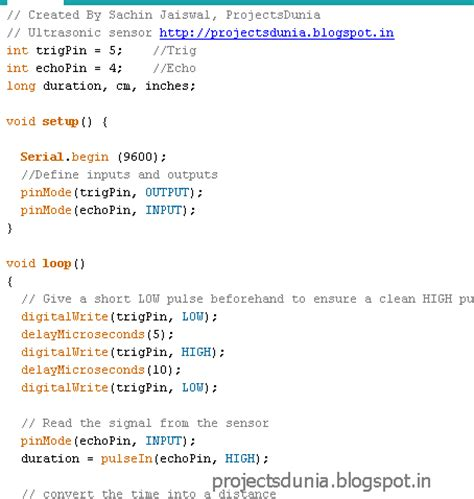 arduino code for ultrasonic sensor arduino distance measurement using ultrasonic sensor