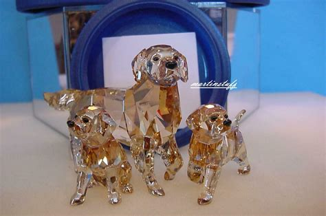 swarovski golden retriever sitting swarovski golden retriever combo and 2 puppies bnib mint ebay