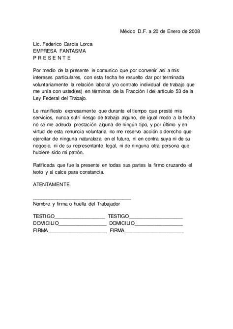 formato de jurisdiccion voluntaria para acreditar carta renuncia modelo